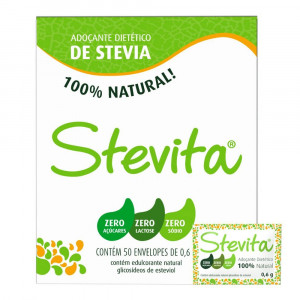 Adoçante Pó Stevita Sweetener Eritriol 50 Envelopes de 0,6g