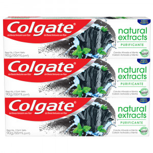 Kit 3x90g Creme Dental Colgate Natural Extracts Purificante