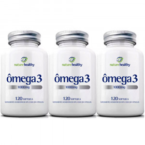 Kit 3x120 Ômega 3 Fish Oil Óleo Peixe Nature Healthy 1000mg